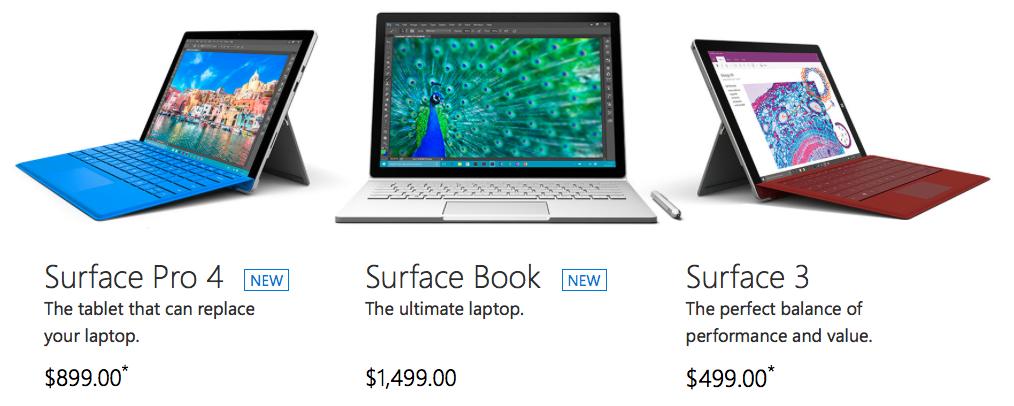 MicrosoftがSurface Pro4/Surface Bookを発売!価格/スペックなど
