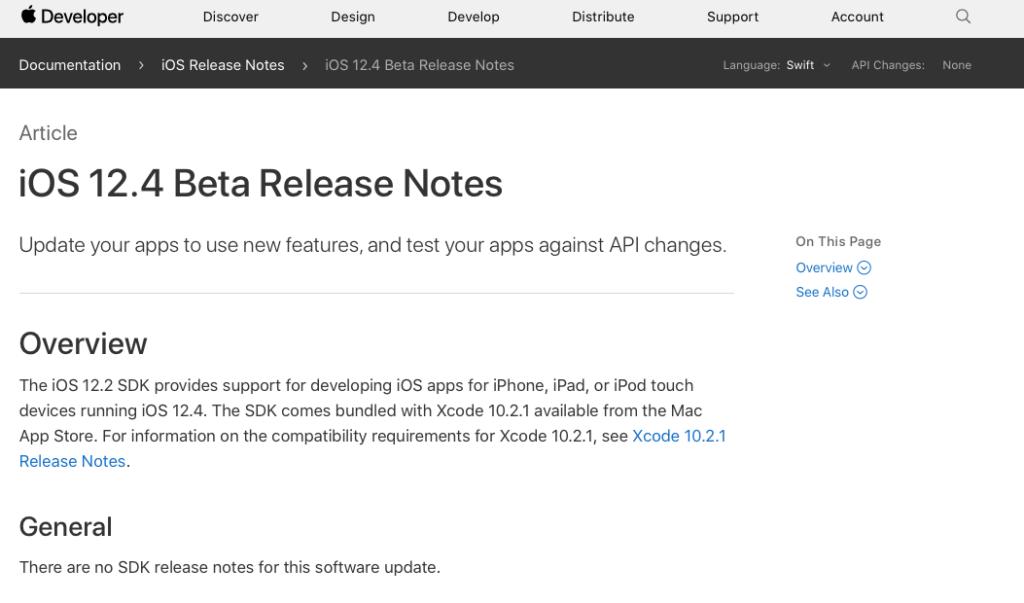 iOS12.4のbeta版が開発者向けにリリース | 新機能の追加はなし